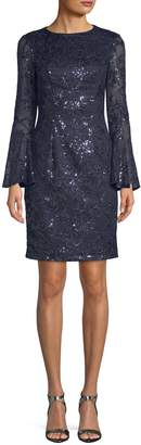 Carmen Marc Valvo Women's Sequin Bell-Sleeve Dress
