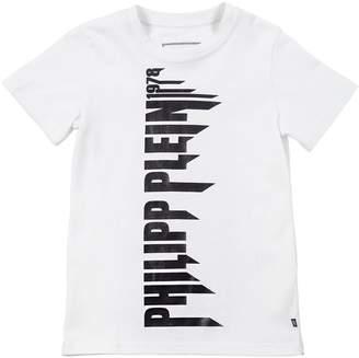 Philipp Plein Junior Logo Printed Cotton Jersey T-Shirt