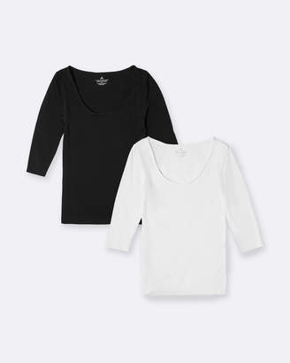 2-Pack 3/4 Sleeve Scoop Neck Top