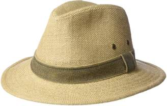 Scala Men's Plus-size Hemp Safari Hat with Leather Band