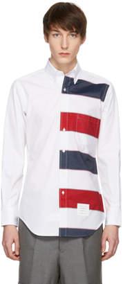 Thom Browne White Funmix Stripe Point Collar Button-Down Shirt