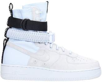 Nike Sf Af1 White Leather And Fabric High Sneakers