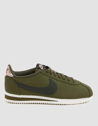 Nike Classic Cortez Leather Sneaker in Olive Canvas