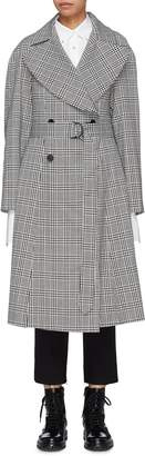 Tome Belted pleated back houndstooth check plaid trench coat