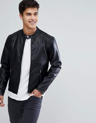 Solid Faux Leather Jacket With Biker Collar