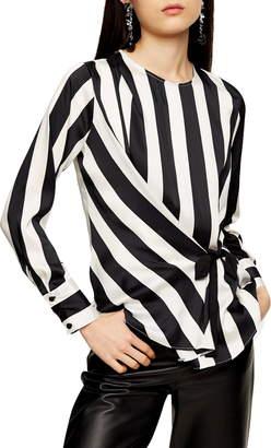 Topshop Stripe Side Tie Blouse
