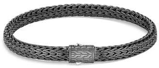 John Hardy Sterling Silver Classic Chain Matte Black Rhodium Flat Chain Bracelet