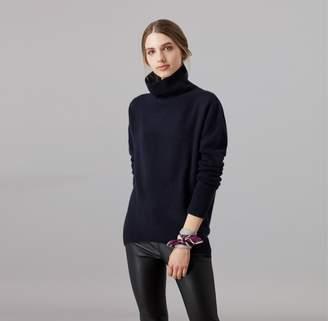 Amanda Wakeley Kloss Midnight Cashmere Polo Neck Top
