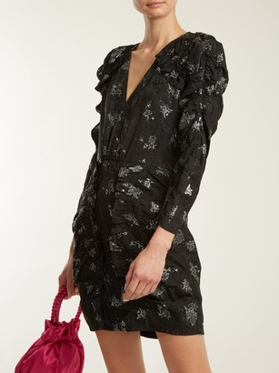 Rebecca Taylor V Neck Ruffle Silk Dress - Womens - Black Silver