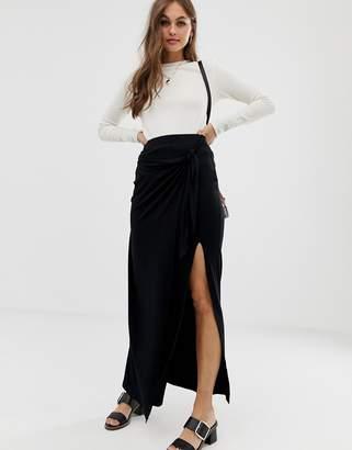 Asos Design DESIGN wrap maxi skirt with tie waist and split