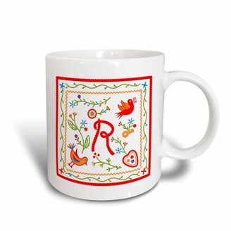 3dRose Letter R Monogram and design inpired by Portuguese Love Handkerchiefs tradition, Ceramic Mug, 15-ounce