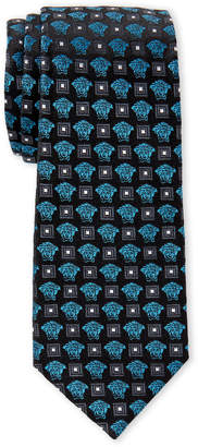 Versace Black & Blue Medusa Head Slim Silk Tie