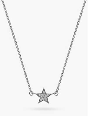 Hot Diamonds Glint 9ct White Gold Diamond Star Pendant Necklace