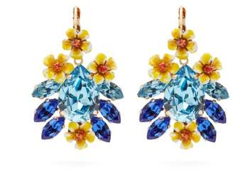 Dolce & Gabbana Floral Crystal Earrings - Womens - Blue
