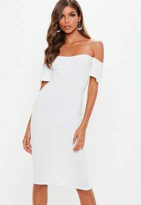 Missguided White Bardot Bodycon Midi Dress