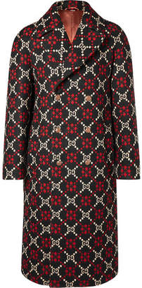 Gucci Double-Breasted Logo-Jacquard Wool Coat - Black