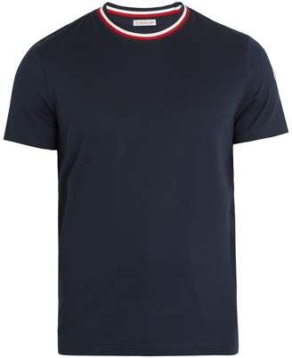 Moncler Contrast-neck cotton-jersey T-shirt