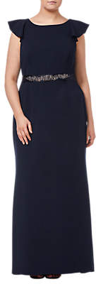 Adrianna Papell Beaded Crepe Dress, Midnight