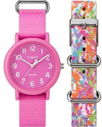 Timex Unisex Weekender Color Rush Pink/Splash Box Set