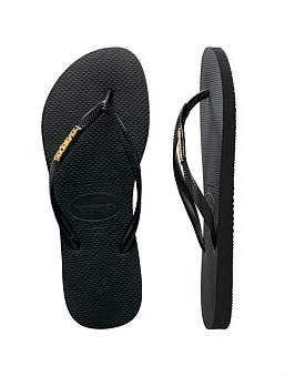 5100ffb0611b1a at David Jones. Havaianas Slim Metal Logo Thong