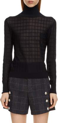 Chloé Grid Pattern Turtleneck Sweater