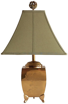 One Kings Lane Vintage Etched Brass Footed Table Lamp - Pythagoras Place