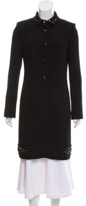 Les Copains Virgin Wool Embellished Coat