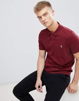 Original Penguin chunky rib mouline polo slim fit embroidered logo in burgundy marl