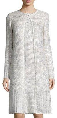 St. John Collection Adara Knit Jewel-Neck Topper Coat, Alabaster/Multi $1,795 thestylecure.com
