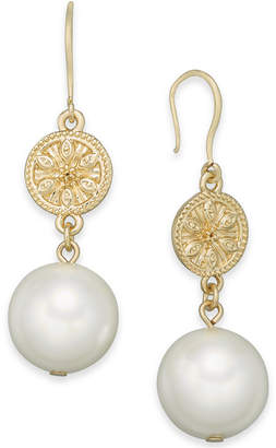 Charter Club Gold-Tone Coin & Imitation Pearl Drop Earrings