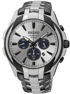 Seiko Gem Solar Stainless Steel Chronograph Watch