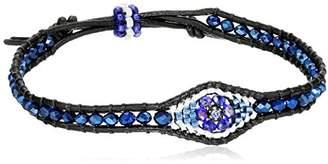 Miguel Ases Tanzanite Hydro-Quartz Evil Eye Leather Slip-Knot Bracelet