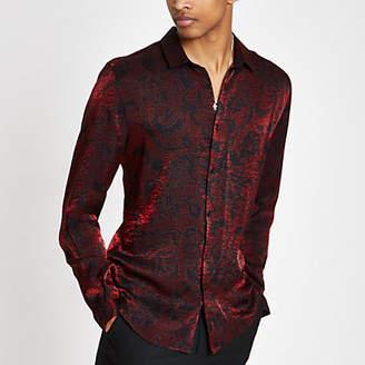 River Island Red metallic printed button-down shirt