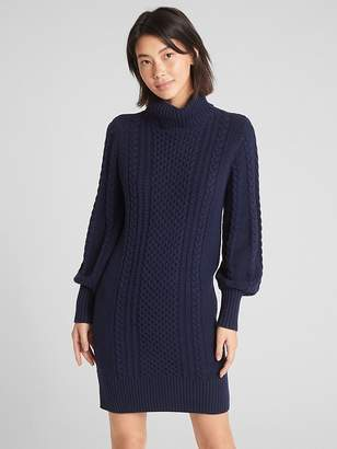 Gap Turtleneck Cable-Knit Sweater Dress