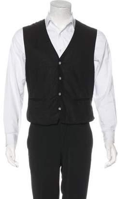 John Varvatos Linen Button-Up Vest