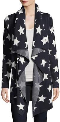 Neiman Marcus Star-Print Drape-Front Cardigan