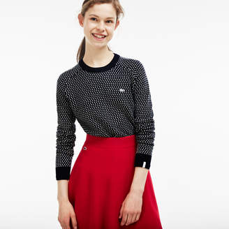 Lacoste Women's LIVE Crew Neck Wool Blend Mini Jacquard Sweater