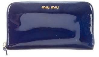 Miu Miu Patent Leather Zip Wallet