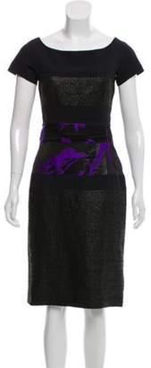 J. Mendel Tweed-Paneled Sheath Dress Black Tweed-Paneled Sheath Dress