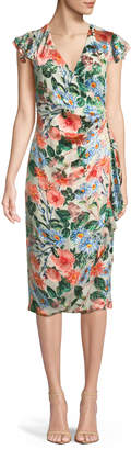 Alice + Olivia Garnet Floral-Print Silk Wrap Dress