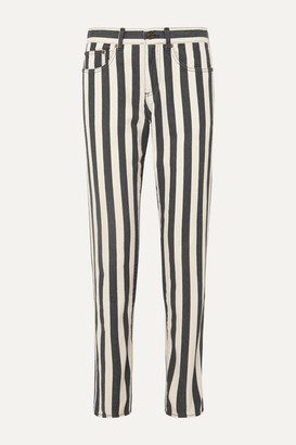 Saint Laurent Striped Low-rise Slim-leg Jeans - Black