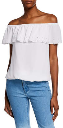 ae0fcae4dbb MICHAEL Michael Kors Off-Shoulder Short-Sleeve Ruffle Top