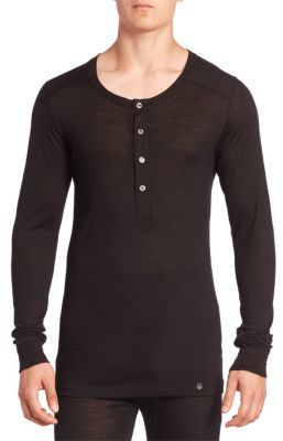 Hanro Light Merino Solid Long Sleeve Henley $185 thestylecure.com