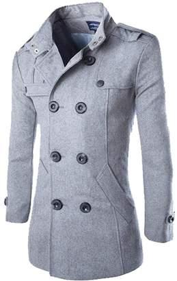 XIANIWTA Men's Pea Coat Stand Collar Windproof Jacket Overcoat (, XXXL)