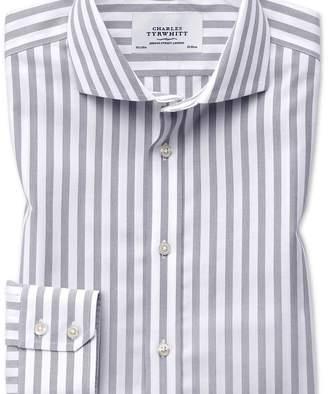Charles Tyrwhitt Slim fit cutaway non-iron wide stripe grey shirt
