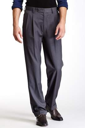 "Louis Raphael Solid Herringbone Super 150 Straight Fit Double Pleat Pants - 30-34"" Inseam"