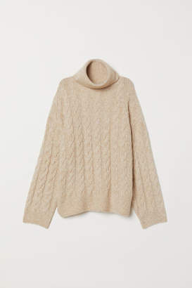 H&M Cable-knit Turtleneck Sweater - Beige