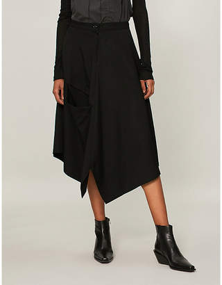 Y's Ys Double pocket draped wool skirt