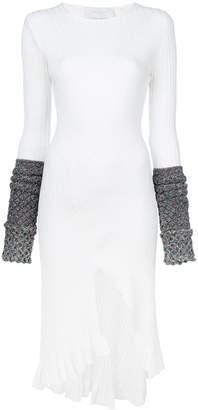 Esteban Cortazar contrast-cuff midi dress