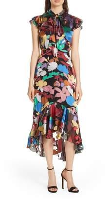 Alice + Olivia Lessie Tie Neck Silk Blend Ruffle Dress